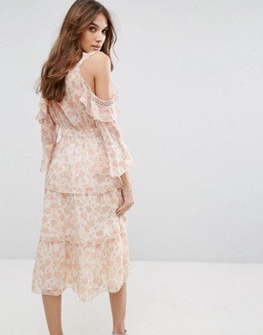 photo Floral Printed Ruffle Dress by Miss Selfridge, color Multi - Image 2