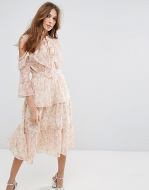 photo Floral Printed Ruffle Dress by Miss Selfridge, color Multi - Image 1