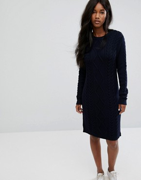 photo Knitted Dress with Button Detail by Polo Ralph Lauren, color Navy - Image 1