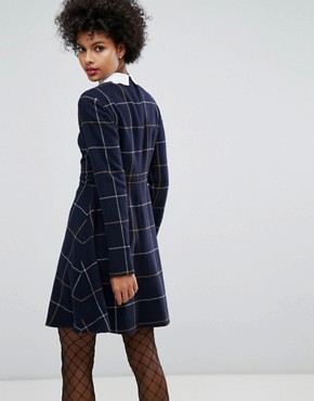 photo Big Checked Wool Dress with Embroidered Collar by Sonia by Sonia Rykiel, color Navy - Image 2