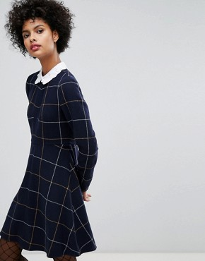 photo Big Checked Wool Dress with Embroidered Collar by Sonia by Sonia Rykiel, color Navy - Image 1