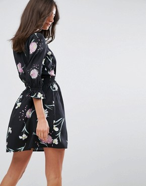photo V-Neck Tea Dress with Gathered Sleeve by Influence Tall, color Black Floral - Image 2