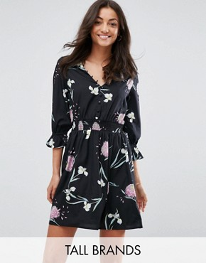 photo V-Neck Tea Dress with Gathered Sleeve by Influence Tall, color Black Floral - Image 1
