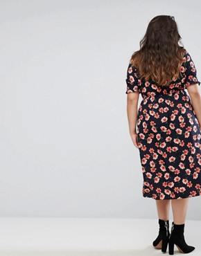 photo Floral Midi Dress by Influence Plus, color Black - Image 2