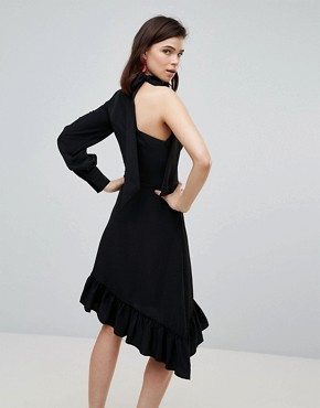 photo One Sleeve Scarf Neck Tie Midi Dress by ASOS TALL, color Black - Image 2