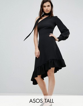 photo One Sleeve Scarf Neck Tie Midi Dress by ASOS TALL, color Black - Image 1