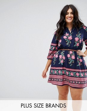 photo Belted Dress with 3/4 Sleeves in Border Floral Print by Yumi Plus, color Navy - Image 1