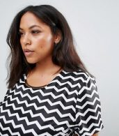 photo Tunic Dress with Metal Plate Detail in Chevron Print by Yumi Plus, color Black/White - Image 3