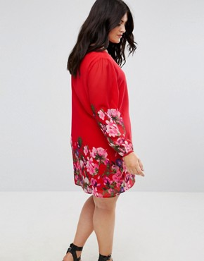 photo Long Sleeve Shift Dress in Floral Border Print by Yumi Plus, color Red - Image 2