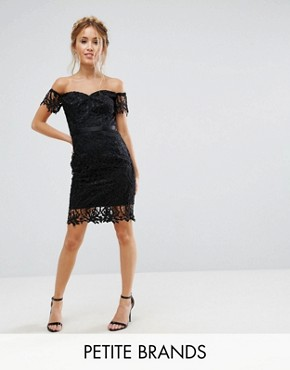 photo Lace Bandeau Midi Dress with Sweetheart Neck by Chi Chi London Petite, color Black - Image 1