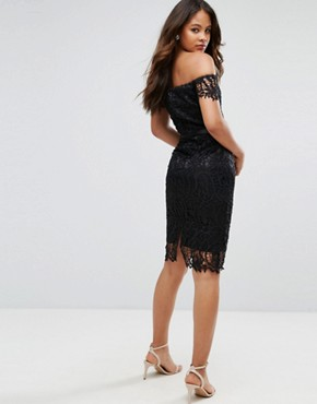 photo Lace Bandeau Midi Dress with Sweetheart Neck by Chi Chi London Tall, color Black - Image 2