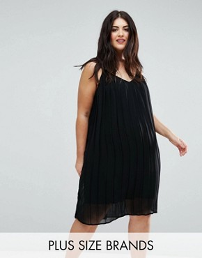 photo Pleated Strappy Dress by Lovedrobe, color Black - Image 1