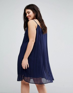 photo Pleated Strappy Dress by Lovedrobe, color Navy - Image 2