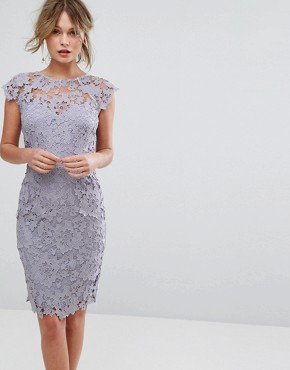 photo Midi Lace Dress with Scalloped Back by Paper Dolls, color Oyster Grey - Image 2