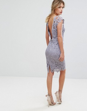 photo Midi Lace Dress with Scalloped Back by Paper Dolls, color Oyster Grey - Image 1