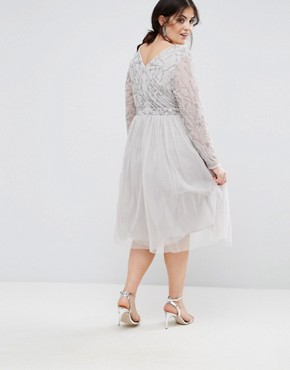 photo Embellished Skater Dress with Tulle Skirt by Lovedrobe Luxe, color Light Grey - Image 2