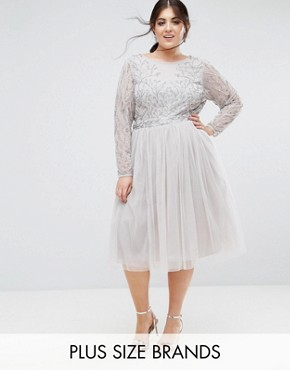 photo Embellished Skater Dress with Tulle Skirt by Lovedrobe Luxe, color Light Grey - Image 1