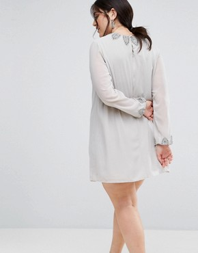 photo Embellished Tunic Dress by Lovedrobe Luxe, color Light Grey - Image 2