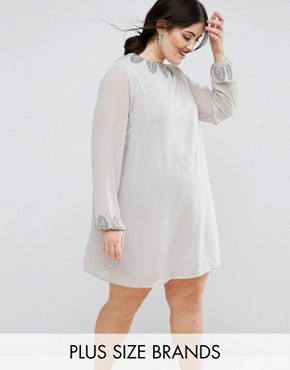 photo Embellished Tunic Dress by Lovedrobe Luxe, color Light Grey - Image 1