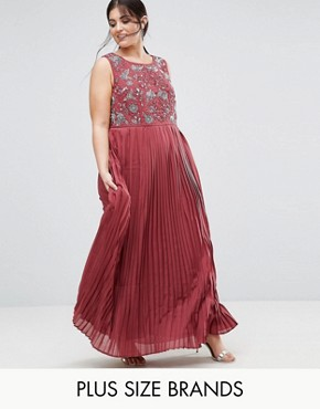 photo Hand Embellished Pleated Maxi Dress by Lovedrobe Luxe, color Nude - Image 1