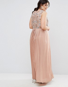 photo Hand Embellished Pleated Maxi Dress by Lovedrobe Luxe, color Rose - Image 2