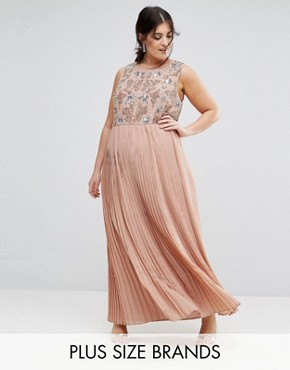 photo Hand Embellished Pleated Maxi Dress by Lovedrobe Luxe, color Rose - Image 1