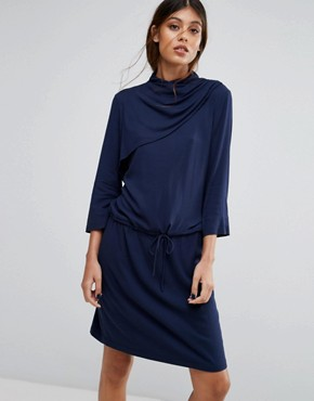 photo Matoma Dress with Drape Neck by Gestuz, color Navy - Image 1