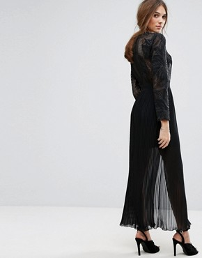 photo Premium Embroidered Pleated Maxi Dress by Miss Selfridge, color Black - Image 2