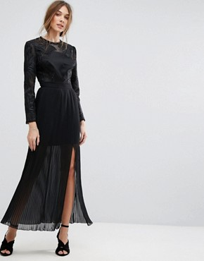 photo Premium Embroidered Pleated Maxi Dress by Miss Selfridge, color Black - Image 1