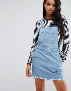 photo Anabella Dungaree Raw Hem Dress by Pieces, color Blue - Image 1