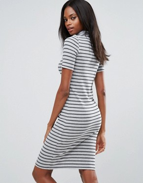 photo Maya High Neck Stripe Bodycon Midi Dress by Pieces, color Stripe - Image 2