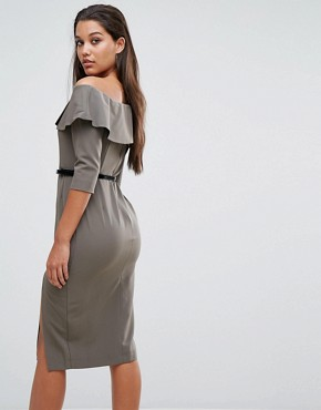 photo Bella Belted Pencil Dress by Millie Mackintosh, color Khaki - Image 2