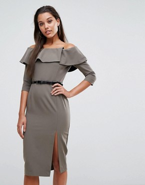 photo Bella Belted Pencil Dress by Millie Mackintosh, color Khaki - Image 1