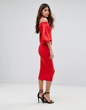 photo Off Shoulder Midi Dress with Blouson Sleeve by TFNC, color Red - Image 2