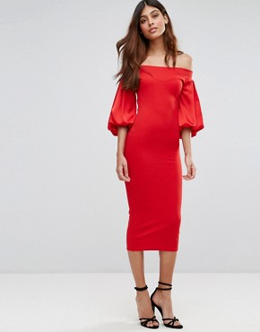 photo Off Shoulder Midi Dress with Blouson Sleeve by TFNC, color Red - Image 1