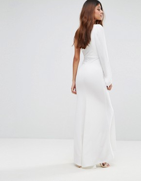 photo Off Shoulder Fishtail Maxi Dress with One Shoulder Blouson Sleeve by TFNC, color White - Image 2
