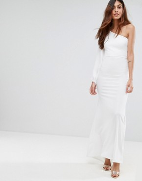 photo Off Shoulder Fishtail Maxi Dress with One Shoulder Blouson Sleeve by TFNC, color White - Image 1