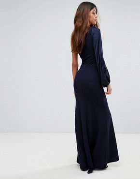 photo Off Shoulder Fishtail Maxi Dress with One Shoulder Blouson Sleeve by TFNC, color Navy - Image 2