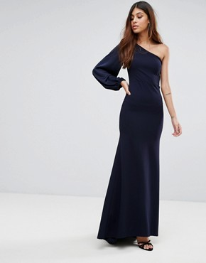 photo Off Shoulder Fishtail Maxi Dress with One Shoulder Blouson Sleeve by TFNC, color Navy - Image 1