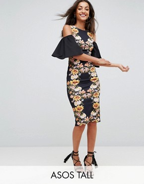 photo Mirror Printed Cold Shoulder Midi Bodycon Dress by ASOS TALL, color Multi - Image 1