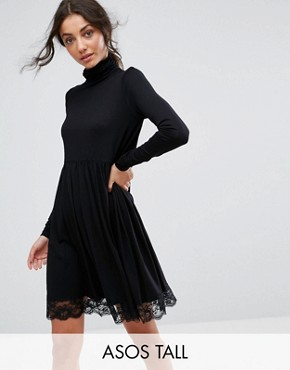 photo Polo Neck Skater Dress with Lace Hem by ASOS TALL, color Black - Image 1