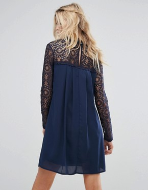 photo High Neck Swing Dress with Lace Upper by Elise Ryan, color Navy - Image 2