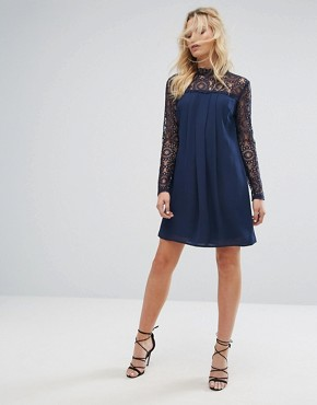 photo High Neck Swing Dress with Lace Upper by Elise Ryan, color Navy - Image 4