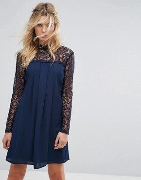 photo High Neck Swing Dress with Lace Upper by Elise Ryan, color Navy - Image 1