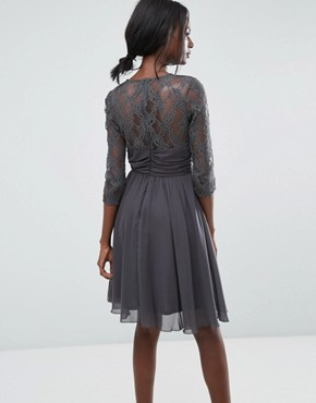photo Ruched Waist Lace Midi Dress with 3/4 Length Sleeve by Elise Ryan, color Dark Grey - Image 2
