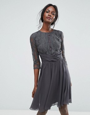 photo Ruched Waist Lace Midi Dress with 3/4 Length Sleeve by Elise Ryan, color Dark Grey - Image 1