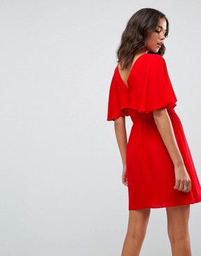 photo Flutter Sleeve Cross Over Mini Dress by ASOS, color Red - Image 2