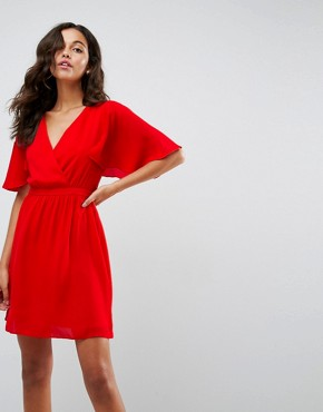 photo Flutter Sleeve Cross Over Mini Dress by ASOS, color Red - Image 1