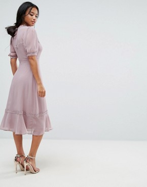 photo Midi Skater Dress with Crochet Trim by Elise Ryan Petite, color Taupe Rose - Image 2