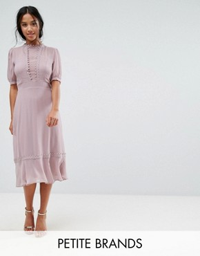 photo Midi Skater Dress with Crochet Trim by Elise Ryan Petite, color Taupe Rose - Image 1